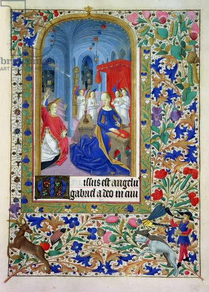 Ms 76/1362 The Annunciation, with scene of deer hunting in border illumination, from the Hours of the Duchess of Burgundy, c.1450 (vellum)