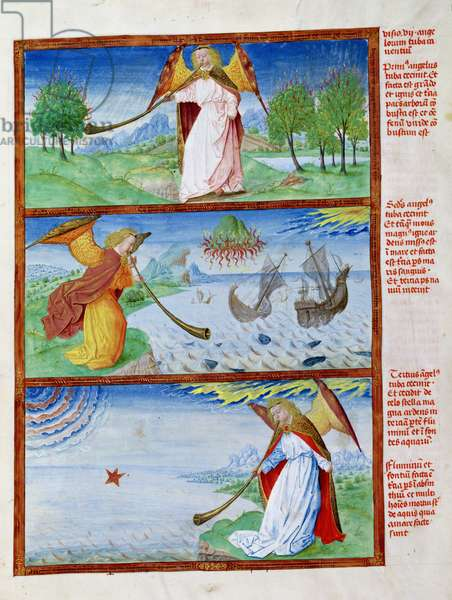 Ms 724/1596 f.12r Apocalypse. Three angels sounding trumpets, hail burning the earth, a fiery mountain over the sea and the star, Absinthe, from 'Liber Floridus' by Lambert de Saint-Omer, c.1448 (vellum)