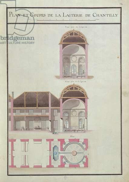 Plan and cross section of the Laiterie, Château de Chantilly, Fol. 24, Atlas du Comte du Nord, 1784 (ink & w/c on paper)