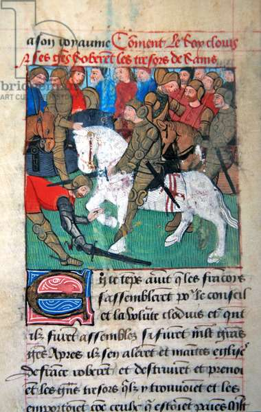 Ms 869/522 fol.12v, Clovis beheads one of his soldiers during a military parade in Campo Martio, from Chroniques des Rois de France (vellum)