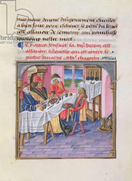 Ms 297/1338 fol.51r Generosity; meal given to guests, from 'Le Livre des Bonnes Moeurs' by Jacques le Grant (vellum)