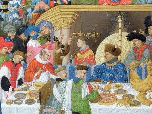 Ms 65/1284 f.1v January: Banquet Scene, from the 'Tres Riches Heures du Duc de Berry' (vellum) (for facsimile copy see 65833) (detail of 8433)