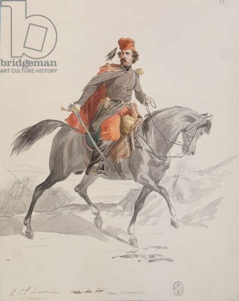 Colonel Christophe Juchault de La Moriciere (1806-65) at Muzayah, from 'Album Afrique 1835-45', 1840 (w/c on paper)