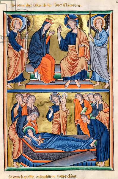 Ms 9/1695 fol.34 Coronation and Burial of the Virgin, from the Psalter of Ingeburg of Denmark, c.1210 (vellum)