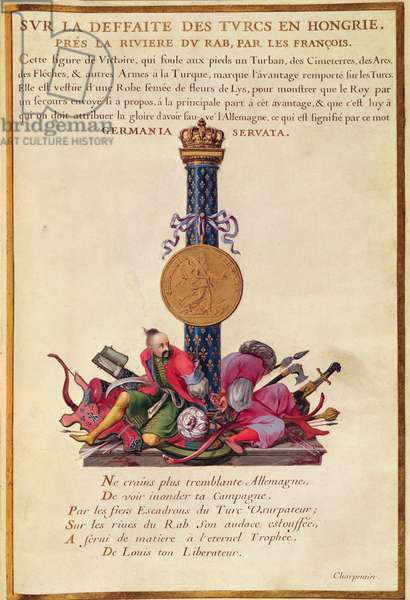 Ms 951/1573 Victory monument celebrating the defeat of the Turks in Hungary during the reign of Louis XIV (1638-1715) 1660-79 (vellum)