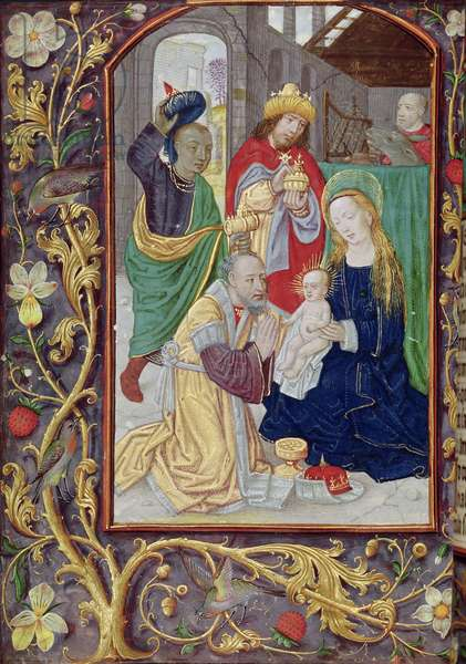 Ms 77/1595 fol.69v The Adoration of the Magi, from 'Heures de l'Usage de Rome' (vellum)