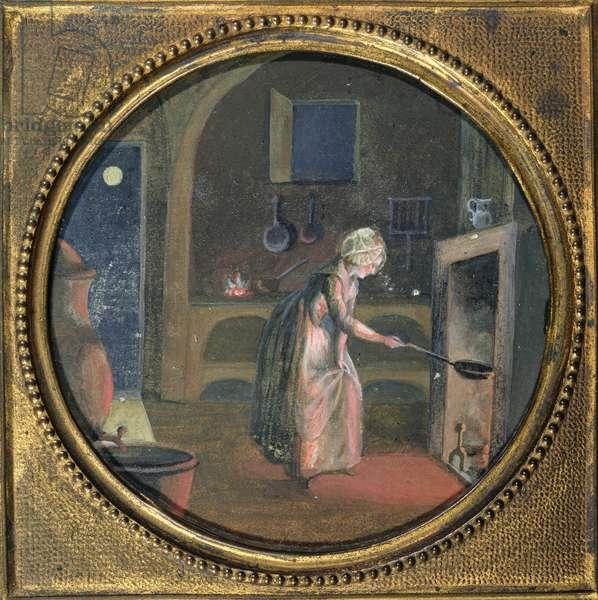 Kitchen Interior (oil on canvas)