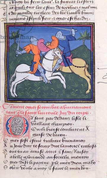 Ms 490/465 fol.13v Ogier and Brunamont fighting on horseback, from the Story of Ogier the Dane (vellum)