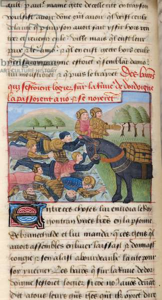 Ms 869/522 fol.78v The drowning of barons in the Dordogne, 1217-37 (vellum)