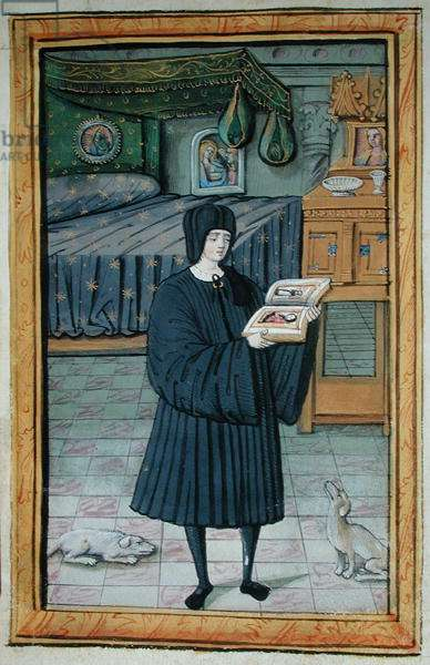 Ms 388/1475 fol.8v A man in a bedroom holding a book with portraits of a lady and her servant (vellum)