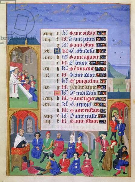 Ms 76/1362 fol.3v March: The Communion and Sermon, from the 'Heures de la Duchesse de Bourgogne', c.1450 (vellum)