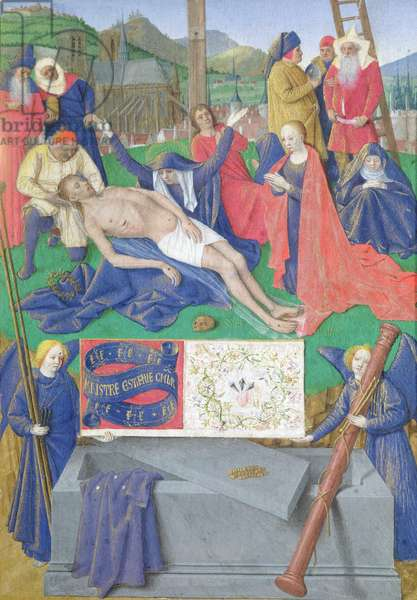 Ms Fr 71 fol.21 The Lamentation of Christ, from the Hours of Etienne Chevalier, c.1445 (vellum)