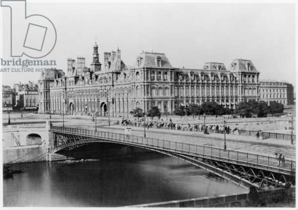 Hotel de Ville and River Seine, Paris (albumen print)