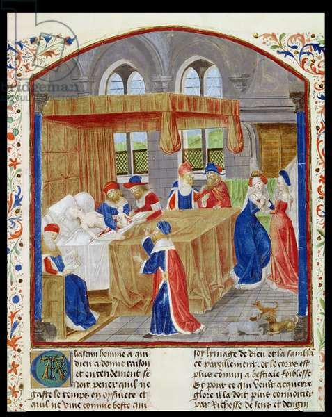 Ms 770/1055 f.1 The Birth of Caesar, compiled according to Lucanus, Suetonius and Sallust, from 'Faits des Romains', 1480 (vellum) (see also 219643)