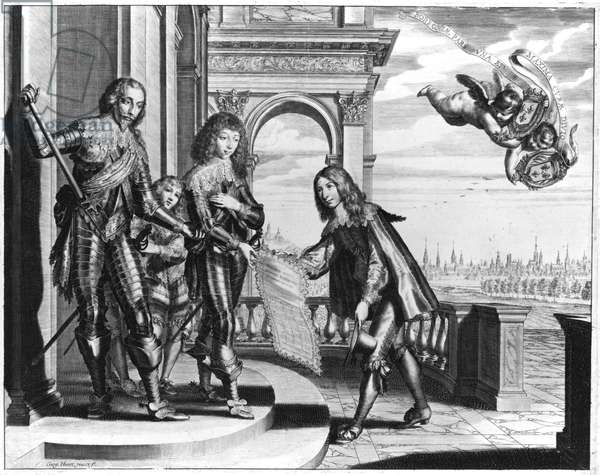 Pierre Palliot paying homage to Henri II (1588-1646) de Bourbon and his Son Louis II (1621-86) de Bourbon (engraving) (b/w photo)
