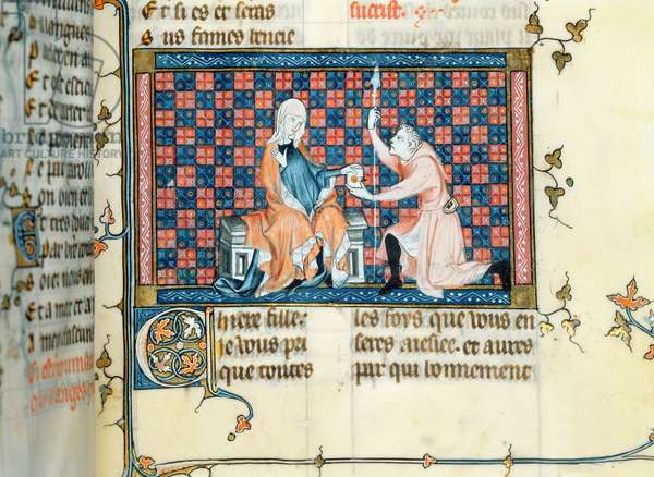 Ms 137/1687 fol.205 A lady giving back a letter to a messenger, from Recueil de Traites de Devotion, 1371-78 (vellum)
