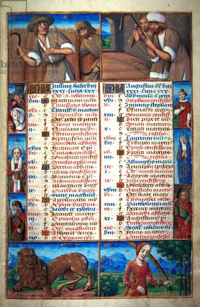 Ms 72/1119, Calendar - July and August, from a French Horae (vellum)