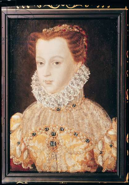 Portrait of a Princess from the House of Habsbourg, possibly Elizabeth of Austria (1554-92) Queen of France (oil on panel)