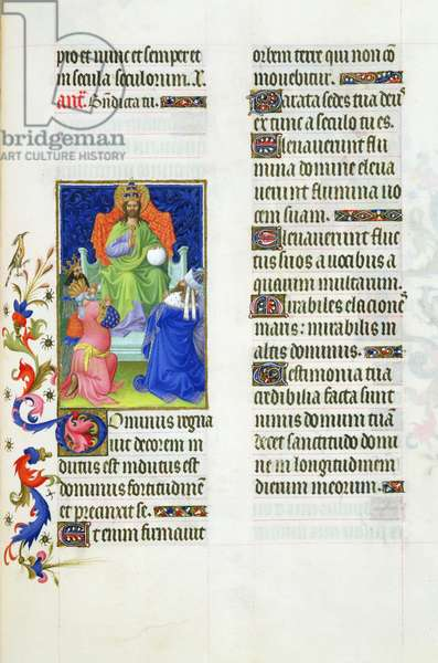 Ms 65/1284 fol.39 Worship of the Sovereign God, from the Très Riches Heures du Duc de Berry (vellum)