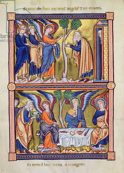 Ms 9/1695 fol.10v Abraham and the Angels, from the Psalter of Ingeburg of Denmark, c.1210 (vellum)