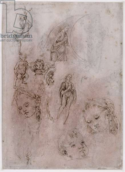 Sheet of studies with St. Sebastian, naked children and angels, heads of Virgin and Jesus Child (verso) (pen & ink & wash on paper)