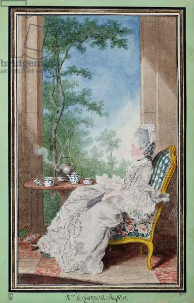Marie-Charlotte-Hippolyte de Saujon (1725-1800) Countess of Boufflers-Rouverel, 1760 (w/c on paper)