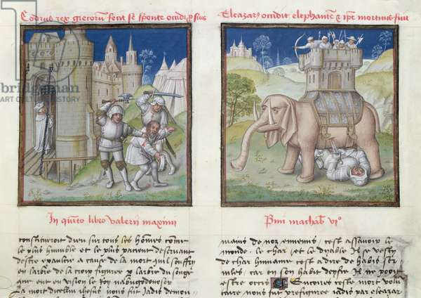 Ms 139/1363 fol.26r The Heroic Death of Codrus and the Death of Eleazar, from 'Le Miroir de l'Humaine Salvation' (vellum)