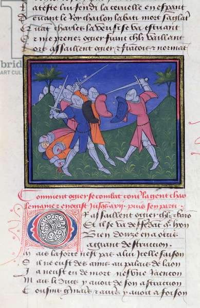 Two knights in Combat, from the Story of Ogier the Dane (vellum)