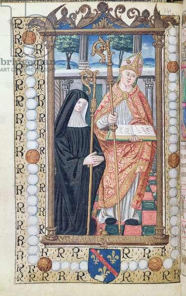 Ms 48/1605 fol.39v Renee de Bourbon (1468-1534) and St. Renatus, from 'Rituel et Ceremonial a l'Usage de Renee de Bourbon, Abbesse de Fontevrault' (vellum)
