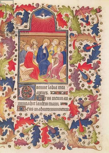 Ms 64/1671 fol.112 Pentecost, from the 'Heures de Francois de Guise' (vellum)
