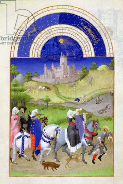 Ms 65/1284 f.8v August: Hawking, from the 'Tres Riches Heures du Duc de Berry' (vellum) (for fascimile copy see 65829)