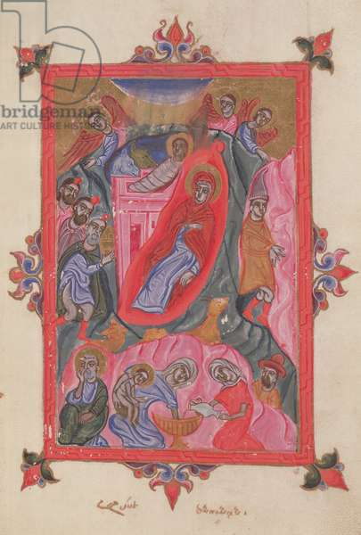 Ms 14/1353 The Nativity from a Gospel, from Crimea, 1679 (vellum)