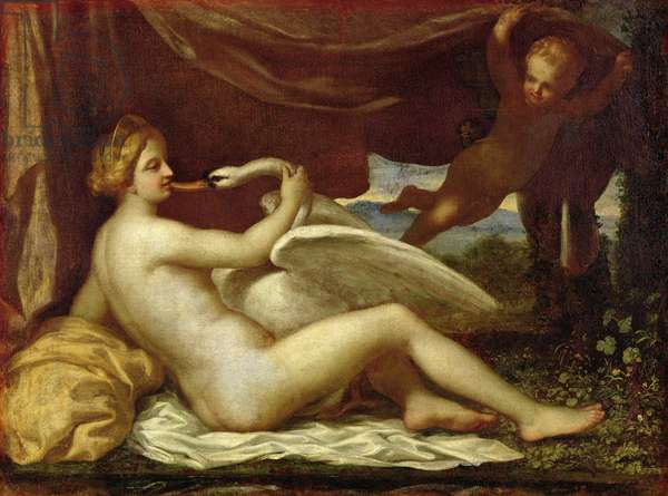 Leda and the Swan (oil on canvas)