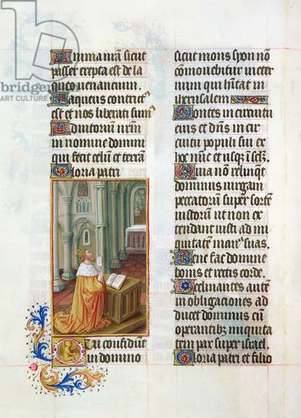 Ms. 65/1284 fol. 53v David in prayer, from 'Très Riches Heures du Duc de Berry' (vellum)