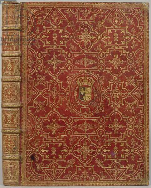"Martin Cureau de La Chambre : ""Caractères des Passions"" (vol. I), book cover perforated with the coat of arms of Anne of Austria, Queen of France and Navarre (leather)"
