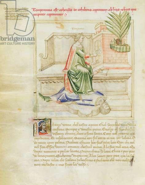 Ms 599/1426 fol.3v Temperance and Epicurus, from 'Panegyric of Bruzio Visconti' written by Bartolomeo da Bologna di Bartoli (fl.1374) (vellum)