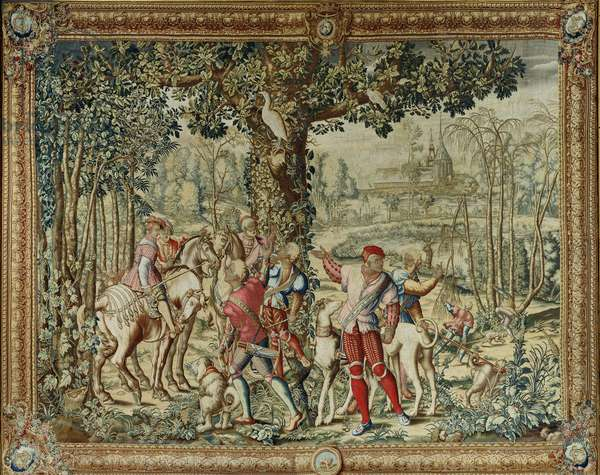 The Hunts of Maximilian, Leo; The Stag Hunt: The Report, Gobelins factory (tapestry)