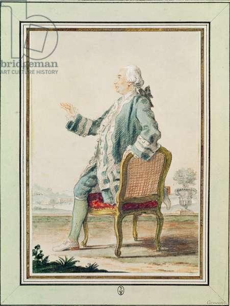 Monsieur de Chalut de Verin proclaiming his tragedy, 1760 (w/c on paper)