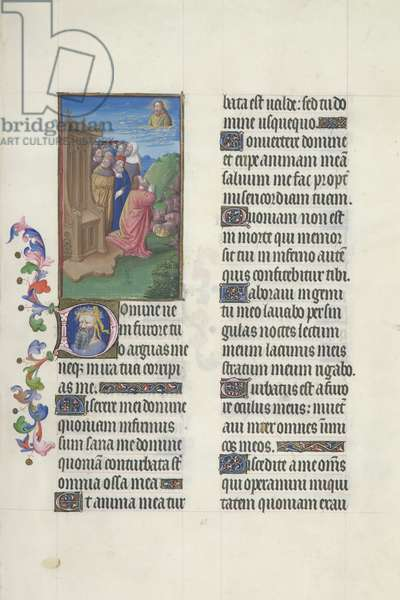 Ms. 65/1284 fol. 65r, Psalm 6, David is Prayer, from 'Très Riches Heures du Duc de Berry' (vellum)
