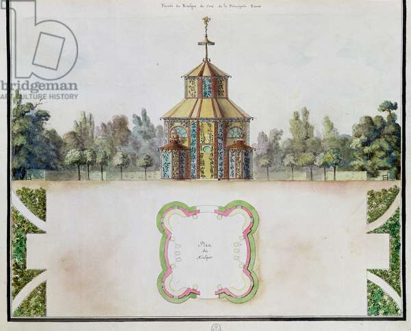 Fol.21 View of a kiosk, from 'Atlas du Comte du Nord', 1784 (pen & ink and w/c on paper) (detail)