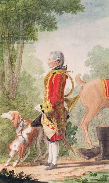 Monsieur de Bois-Massot, huntsman to the Duke of Orleans in Hunting Costume, 1764 (pencil, w/c & gouache on paper)