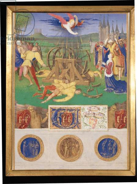 Ms Fr 71 f.38 The Suffering of the Saints, the Martyrdom of St. Catherine of Alexandria, from the Hours of Etienne Chevalier, c.1445 (vellum)