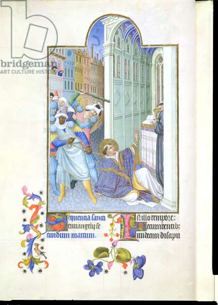 Ms 65/1284 fol.19v The Martyrdom of St. Mark, from the 'Tres Riches Heures du Duc de Berry' (vellum)