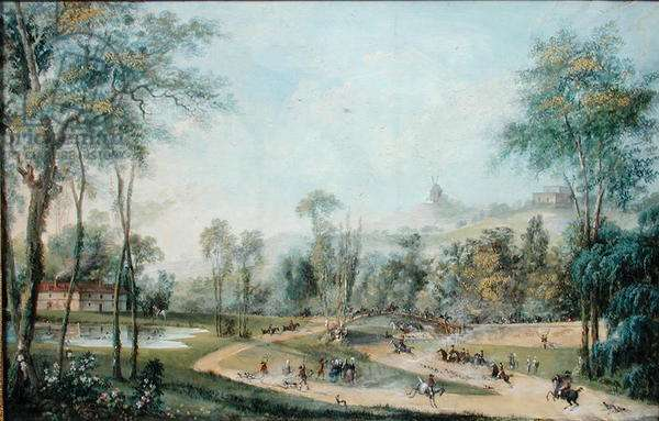Hunt of the Duke of Orleans at Thillay near Gonesse, 1786 (gouache on paper)