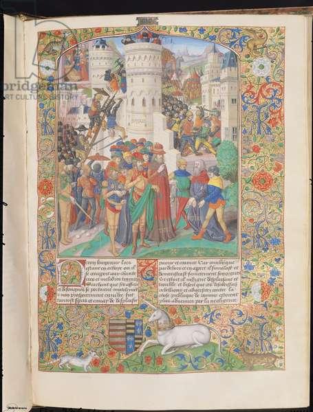 Ms 776/1061 XVIII E 5 f.155 A town under siege during the Jewish War of 66 AD, with Flavius Josephus surrendering to Emperor Titus, c.1475-1500 (vellum)