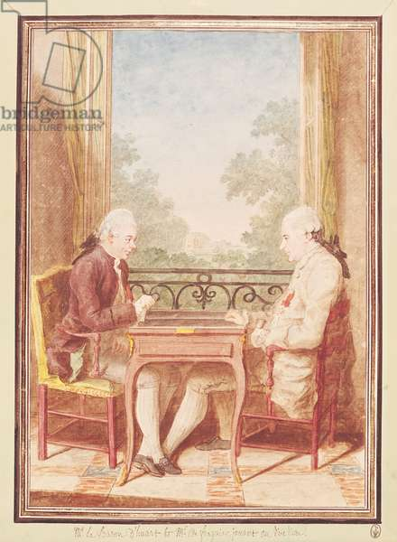 Baron d'Huart and Monsieur de Fraguier Playing Backgammon, c.1760 (w/c on paper)