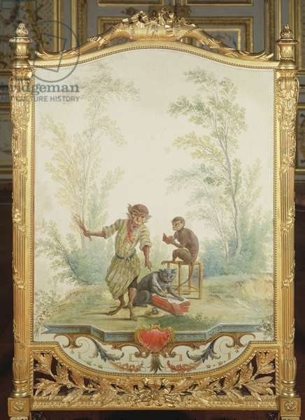 Screen depicting a monkey reading lesson, 1735 (mural)