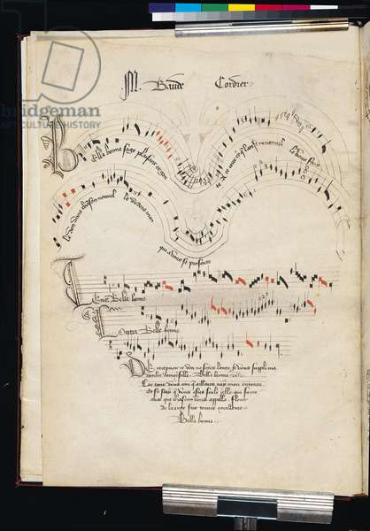 Ms 564/1047 f.11v, 'Belle, Bonne, Sage, Plaisante..', an illuminated composition by Baude Cordier, from a collection of Medieval ballads, motets and songs (ink on vellum)