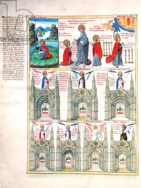 Ms 724/1596 fol.9v The Vision of St. John on Patmos: The Seven Churches of Asia, from 'Liber Floridus' by Lambert de Saint-Omer, c.1448 (vellum)