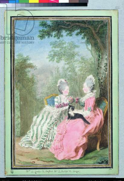 The Countess of Boufflers and the Duchess of Lauzun, 1769 (w/c on paper)